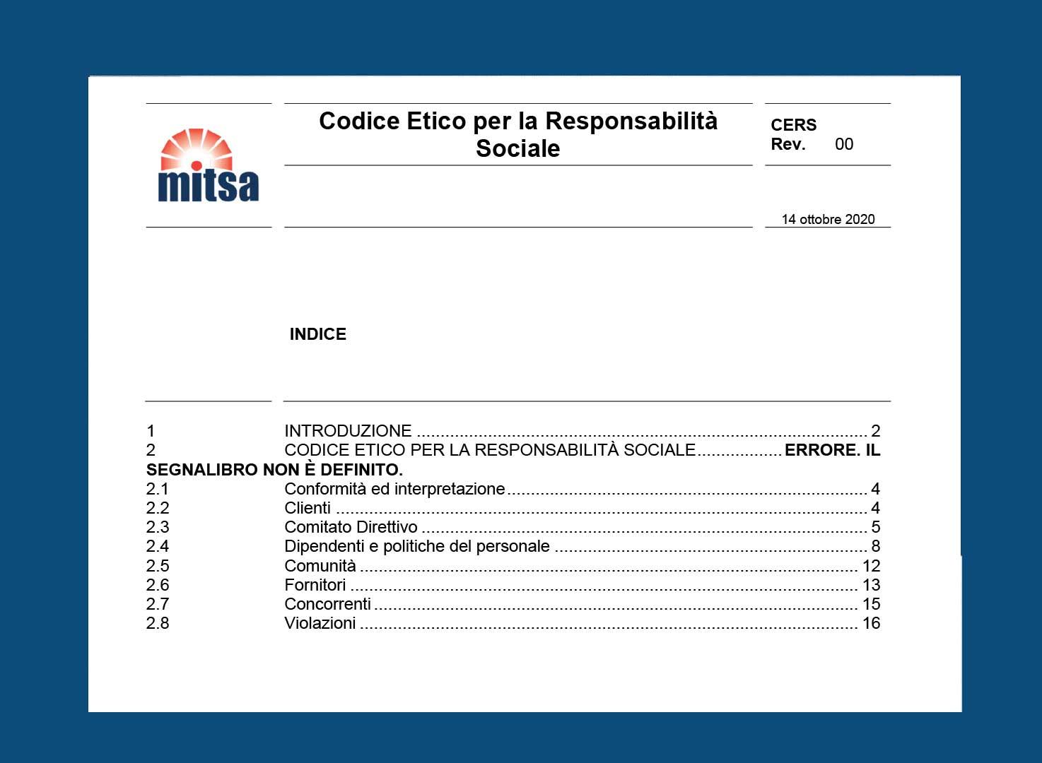 Codice Etico per la Responsabilità Sociale